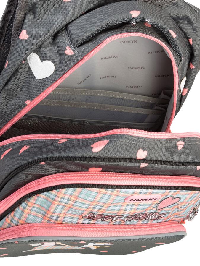 Школьный рюкзак NUK21-NG001-1 антрацитовый; светло-розовый девочки