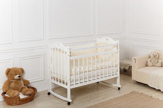 Кроватка детская Incanto Sofi с сердечком, колесо/качалка, SK