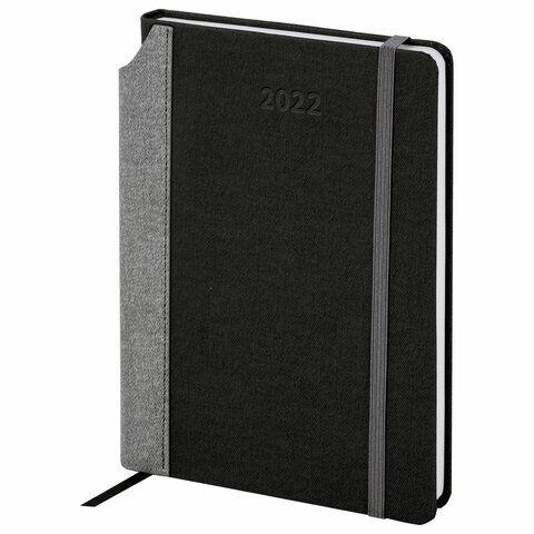 """Ежедневник датированный 2022 А5 138x213 мм BRAUBERG """"Mosaic"""", под кожу, карман для ручки, черный, 112800"""
