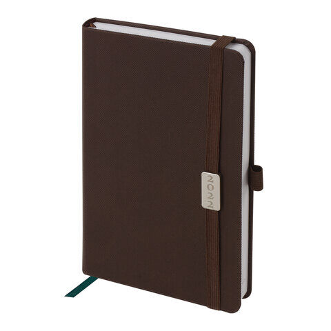 """Ежедневник датированный 2022 А5 138x213 мм BRAUBERG """"Control"""", под кожу, держатель для ручки, коричневый, 112809"""