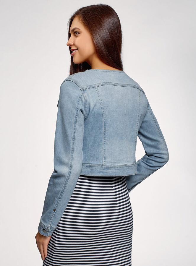 Куртка джинсовая без воротника