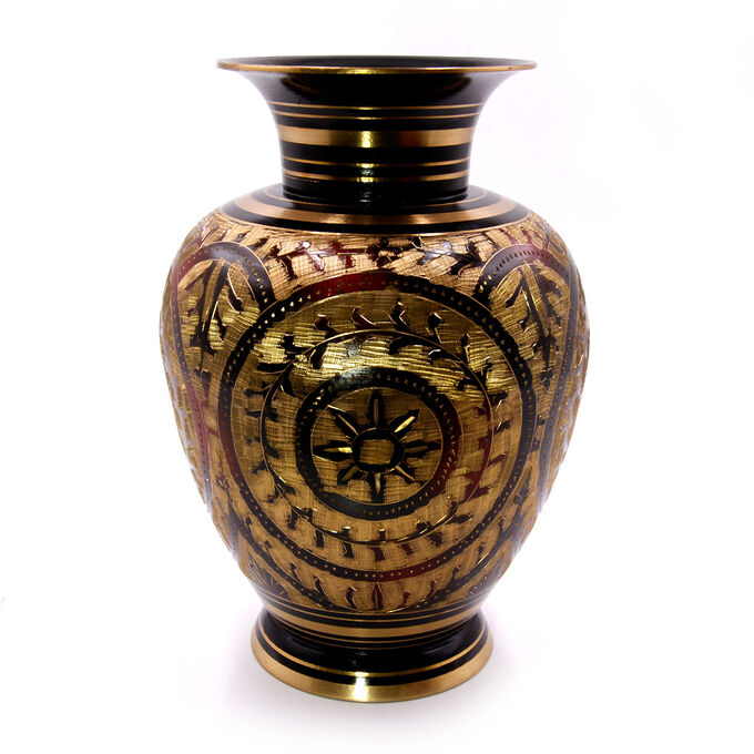 Ваза декоративная резной орнамент латунь h-22см d-10.5см 994гр