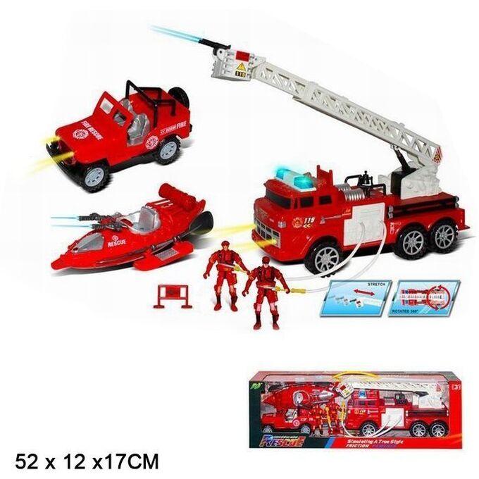 Набор Пожарный 911-3806 спасательная техника и фигурки пожарных в кор.