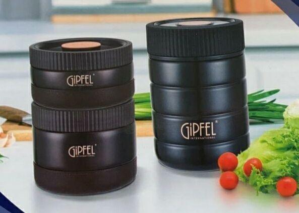 8211 GIPFEL Набор контейнеров для еды KLOSS (в комплекте термос вакуумный с широким горлом 500мл, 2 контейнера для еды 300мл/400мл, сумка). Материал: нерж. сталь 18/10, пластик, силикон.