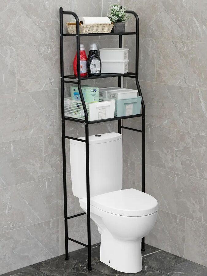 Этажерка Этажерка 3-ярусная в ванную ЧЕРНАЯ 25*45*160см (сталь полим/покр + пластик) Полка для ванной или туалетной комнаты оптимальное решение хранения. Специальная конструкция позволяет установить п