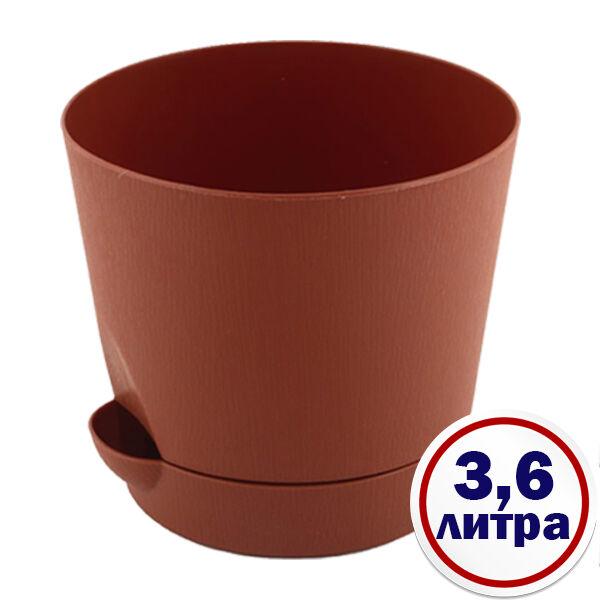 Кашпо для цветов 3,6л, с поддоном Терракотовый