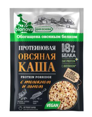 """Протеиновая каша быстрого приготовления """"Бионова"""", овсяная с толокном и семенами льна"""