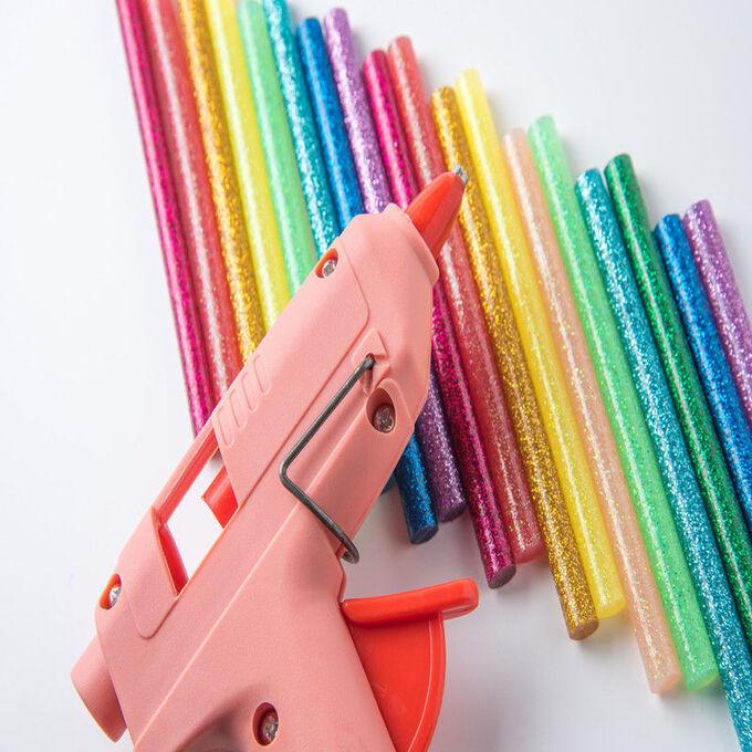 Стержни клеевые разноцветные с блестками 11*200 мм (10 шт)