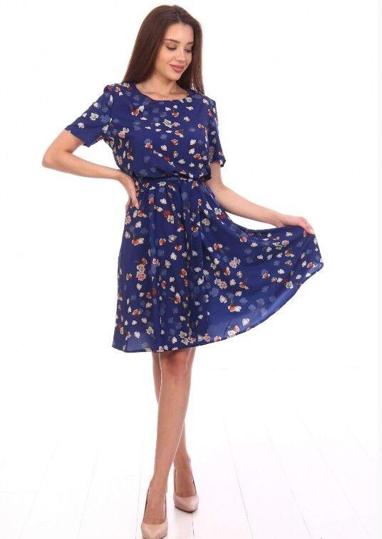2163 Платье Аэлина (2163). Расцветка: розочки на синем