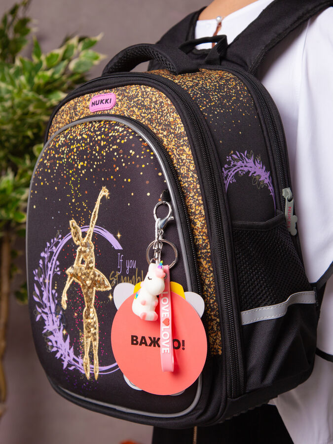Школьный ранец NUK21-G9001-02 черный; золотистый девочки