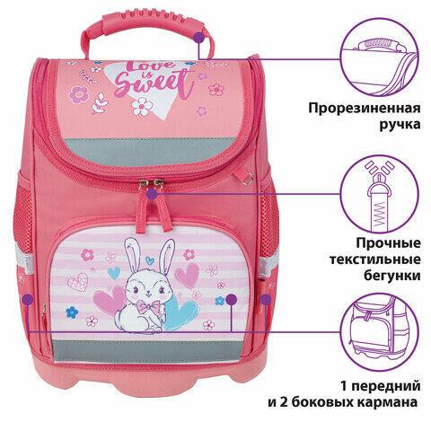 "Ранец ЮНЛАНДИЯ WISE для начальной школы, ""Bunny"", 37х29х15 см, 229945"
