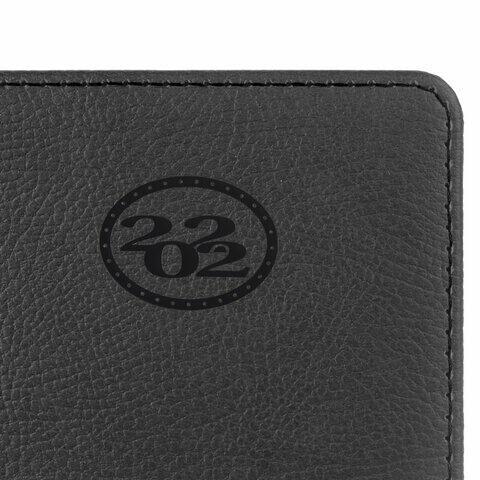 """Ежедневник датированный 2022 А5 138x213 мм BRAUBERG """"Favorite"""", под кожу, черный, 112732"""