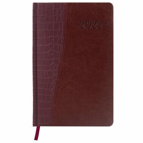 """Ежедневник датированный 2022 А5 138x213 мм BRAUBERG """"Cayman"""", под кожу, коричневый, 112739"""