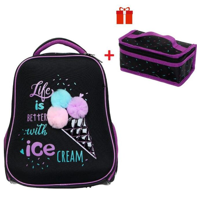 Рюкзак каркасный, Hatber, Ergonomic light ,38 х 29 х 12.5, с термосумкой, Ice cream
