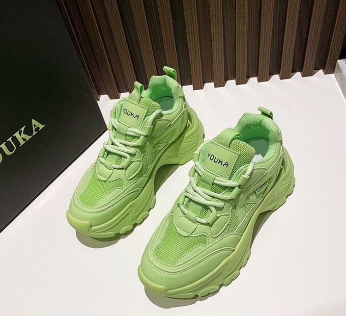 """Женские кроссовки, надпись """"Youka"""", цвет зеленый"""