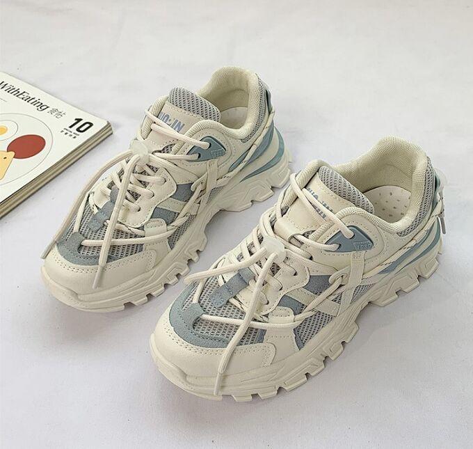 Женские кроссовки, с высокой подошвой, цвет голубой/белый