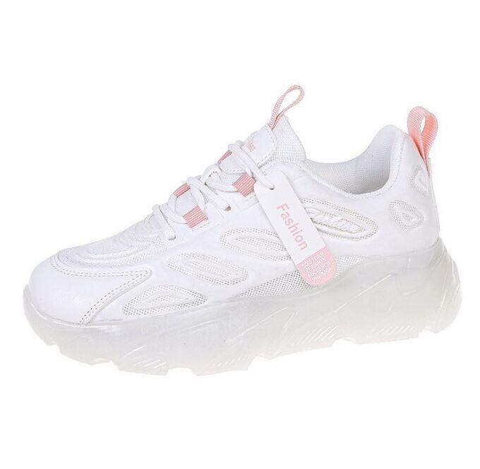 """Женские кроссовки, надпись """"L Rites Arsport"""", с розовыми вставками, цвет белый"""