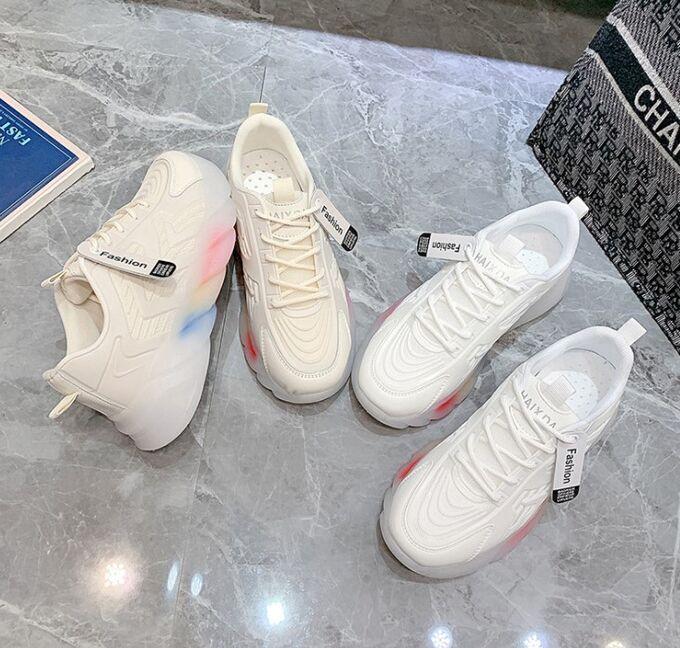 Женские  кроссовки, с градиентом на подошве, цвет бежевый
