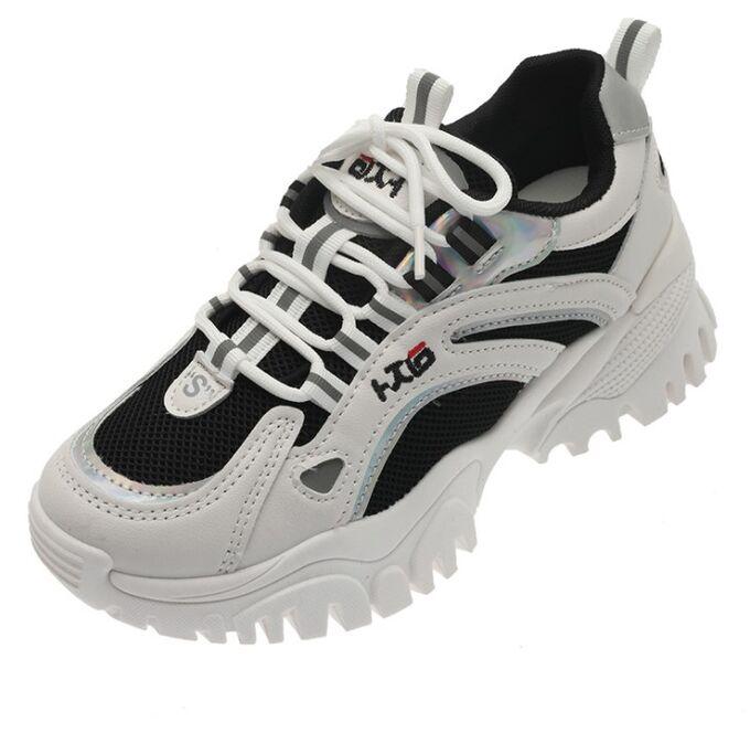 Женские кроссовки, с серебряными вставками, с надписями, цвет белый/черный
