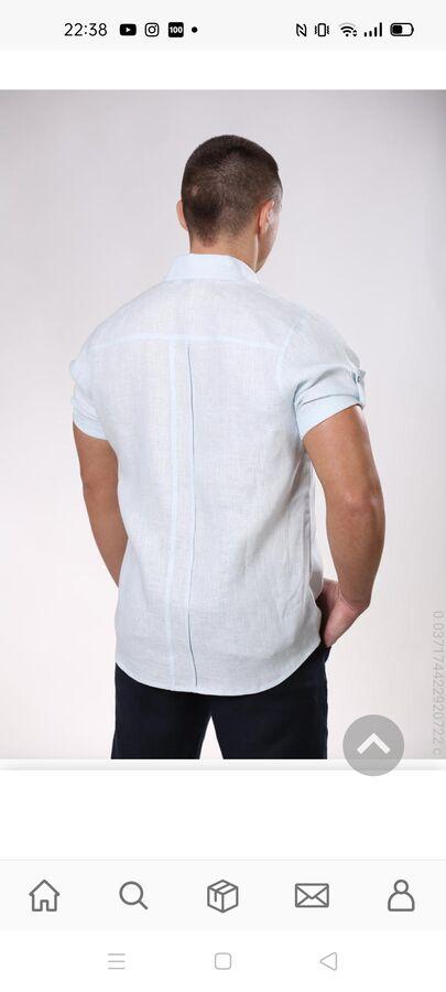 Рубашка мужская серо-голубая, лён 100%, 54 р., ворот 44 в Хабаровске