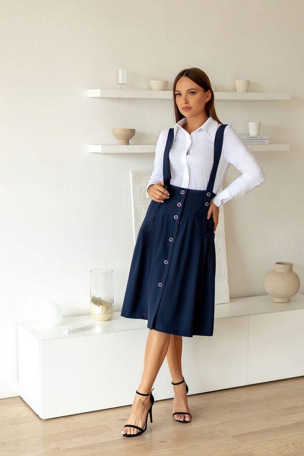 Temper 368 Тип одежды: Костюмы; Состав: Блуза- хлопок 97%, спандекс 3%, юбка- ПЭ 70%, вискоза 27%, спандекс 3%.; Рост: 164 Стильный комплект, состоящий из юбки на бретелях и блузы. Блуза полуприлегающ