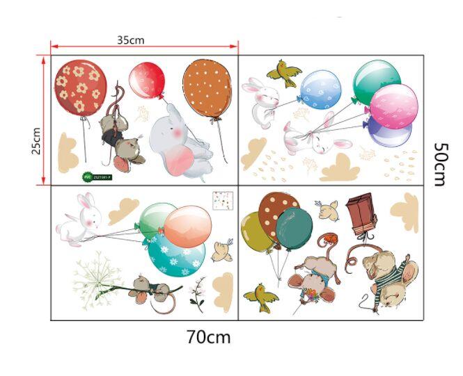 Наклейка многоразовая интерьерная «Животные на воздушных шариках» (2370)