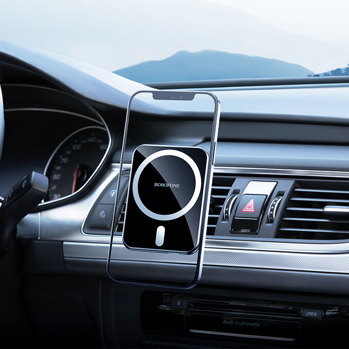 Автомобильный держатель с функцией беспроводной зарядки Borofone Magnetic BH43 / 15W