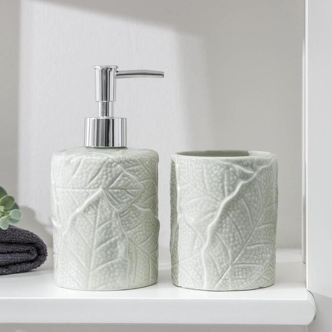 Набор аксессуаров для ванной комнаты «Мезо», 2 предмета (дозатор для мыла, стакан), цвет серый