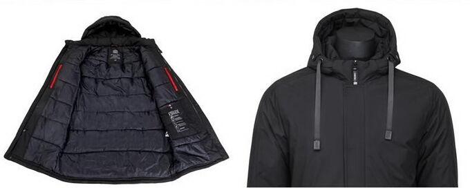 Мужская зимняя удлиненная куртка с капюшоном