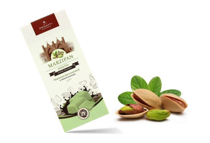 Фисташковый марципан  в темном  шоколаде, миндаль 33% содержание какао 55 %  85 г. Срок годности 10 месяцев с даты производства.