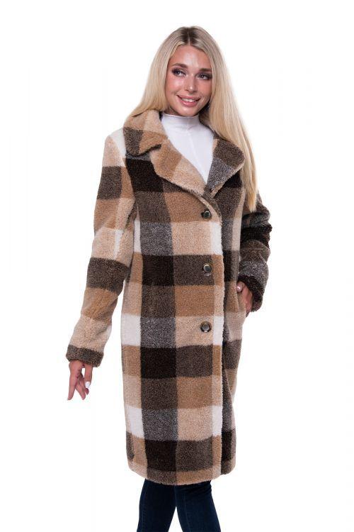 Пальто женское из овечьей шерсти Пальто CLASSIС клетка КОРИЧНЕВЫЙ