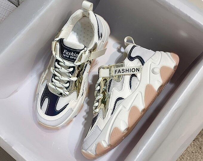 """Женские кроссовки на платформе, надпись """"Fashion"""", цвет белый/синий"""